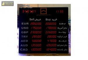 تابلو نرخ ارز دلار و قیمت سکه بانک مسکن کرج