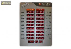نمایشگر تابلو ارز قیمت سکه دلار دیجیتال بانک ملت