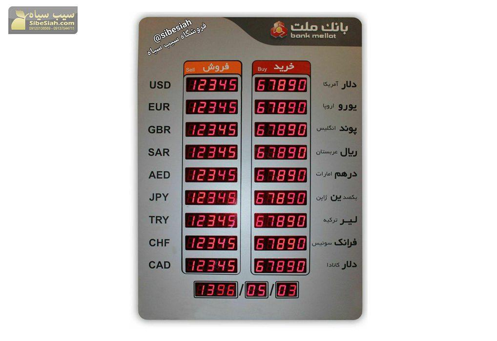 تابلو قیمت ارز و سکه _ تهران