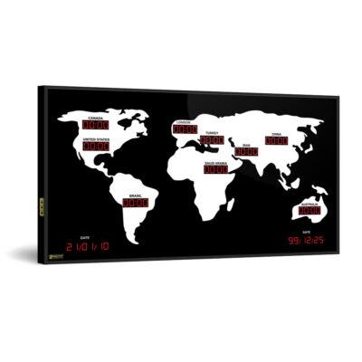 ساعت دیجیتال چند زمانه چند کشوره دیواری بزرگ