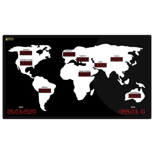 ساعت دیجیتال چند زمانه چند کشوره جهانی هتلی